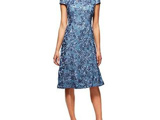 Alex Evenings Women s Tea length Dress with Rosette Detail  Periwinkle  16