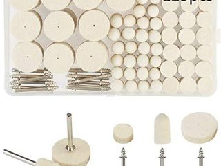 Wool Felt Polishing Pad KAKOO 123 Pcs Felt Mounted Mandrel Set Grinding Head Buffing Wheel for Rotary Tools Jewelry Glass Metal Ceramic