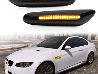 2 Pcs Amber lED Side Marker Turn Signal light Compatible for BMW E90 E91 E92 E93 E46 E53 X3 E83 X 1 E84 E81 E82 E87 E88  Smoke lens Style Black