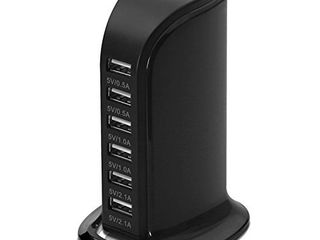 lYIlIN 30W 6 Port USB Charger Desktop Charging Station with Smart Identification Technology for iPhone iPad  Android and Virtually All Other USB Enabled Devices  Black