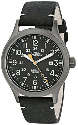 Timex Men s TW4B01900 Expedition Scout 40 Black leather Strap Watch