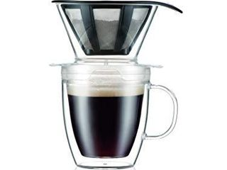 Bodum Pour Over Coffee Dripper Set With Double Wall Mug and Permanent Filter  12 Ounce  Clear