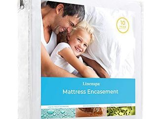 linenspa Waterproof Proof Protector Blocks Out liquids  Bed Bugs  Dust Mites and Allergens  King  Mattress Encasement