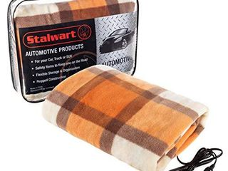Stalwart 75 BP1011 Electric Blanket Heated 12V Polar Fleece Travel Throw for Car  Truck   RV for Cold Weather  Tailgating   Emergency Kit  Orange