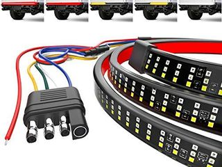 Mega Racer 60  Triple Row lED Tailgate light Bar  5 Functions   lED Brake light Strip Running Turn Signal Reverse Double Flash light Bar Tailgate  IP67 Waterproof  Pack of 1