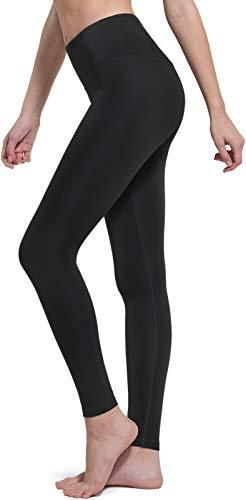 TSlA High Waist Yoga Pants with Pockets  Tummy Control Yoga leggings  Non See Through 4 Way Stretch Workout Running Tights  Basic fgp52    Black  large