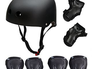 Skateboard Skate Protection Pads Set with Helmet Symbollife Helmet with 6pcs Elbow Knee Wrist Pads for Kids Youths BMX Cycling Rollerblading for Head M  20 5 22 4 inch  Black