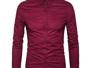 MUSE FATH Men s Printed Dress Shirt Cotton Casual long Sleeve Shirt  Interview Dress Shirt Wine Red l