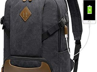 Vintage Backpack for Men  Kasqo Canvas laptop Backpack for School with USB Port