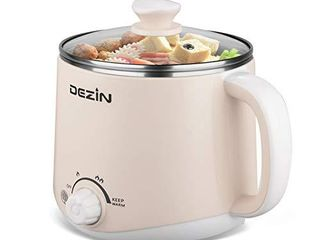 Dezin Electric Hot Pot  Rapid Noodles Cooker  Stainless Steel Mini Pot Perfect for Ramen  Egg  Pasta  Dumplings  Soup  Porridge  Oatmeal with Temperature Control and Keep Warm Feature  1 6l  Beige