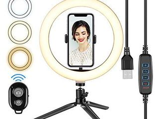 Cliusnra lED Selfie Ring light  10 2  Small Tripod Stand Phone Holder Kit YouTube Video iPhone Ipad Photography Photo Vlog Makeup Dimmable Warm White Natural O light for Desk Floor large USB Halo lamp