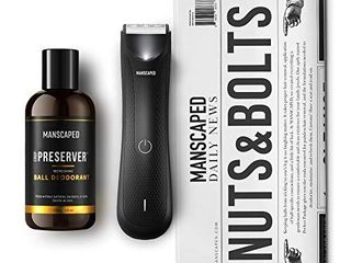 MANSCAPED Nuts and Bolts 3 0  Men s Grooming Kit  Includes The lawn Mower 3 0 Ergonomically Designed Powerful Waterproof Trimmer  The Crop Preservera Ball Deodorant and Disposable Shaving Mats