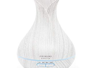 ASAKUKI 400Ml Premium  Essential Oil Diffuser  Quiet 5 in 1 Humidifier  Natural Home Fragrance Diffuser with 7 lED Color Changing light and Easy to Clean