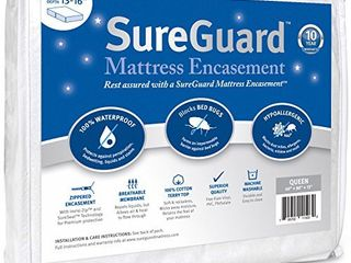 Queen  13 16 in  Deep  SureGuard Mattress Encasement   100  Waterproof  Bed Bug Proof   Premium Zippered Six Sided Cover