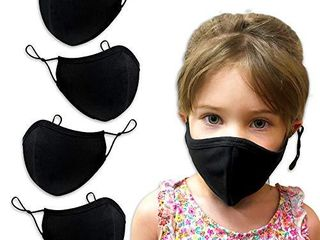 Purian Black Kids Face Masks  Washable Reusable Adjustable  Fits Toddlers  Teens