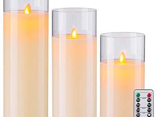 Aku Tonpa Flameless Candles Battery Operated Pillar Real Wax lED Glass Candle Sets with Remote Control Cycling 24 Hours Timer  4  5  6  Pack of 3