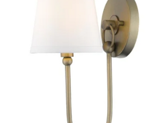 Simple Rustic 1 light Antique Brass Wall Sconce with Shade