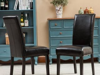 Porch   Den lawrence Solid Wood leatherette Padded Parson Chair  Set of 2  Retail 106 49