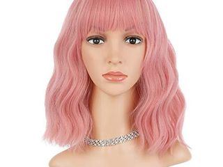 eNilecor Pink Wig  Short Colorful Synthetic Curly Pastel Wigs with Air Bangs for Women 14 Pink