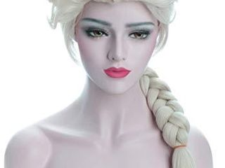 Karlery Adult Women s long Beige Braided Fashion Wig Halloween Cosplay Wig Costume Party Wig Beige