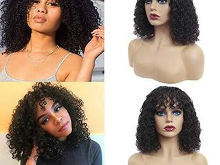 Short Curly Bob Wigs with Bangs Non lace Front Wigs Brazilian Virgin Kinky Curly Human Hair Wigs Glueless Machine Made Wigs for Black Women  150  Density  Natural Black Color  16 Inch