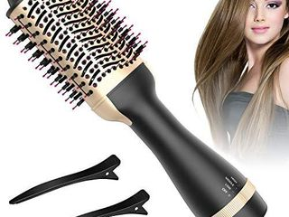 Hot Air Brush  Bongtai Hair Dryer Brush Hair Dryer   Volumizer 3 in 1 Brush Blow Dryer Styler for Rotating Straightening  Curling  Salon Negative Ion Ceramic Blow Dryer Brush Golden