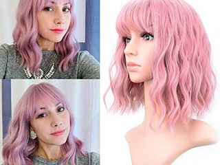 VCKOVCKO Pastel Wavy Wig With Air Bangs Women s Short Bob Purple Pink Wig Curly Wavy Shoulder length Pastel Bob Synthetic Cosplay Wig for Girl Colorful Costume Wigs 12  Purple Pink
