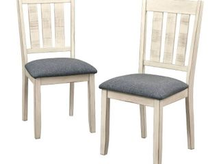 Set of 2 Olin Dining Chairs White Gray   Buylateral