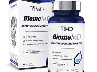 1MD BiomeMD Probiotics   62 Billion CFUs  15 Clinically Studied Strains   Pro   Prebiotics with HMO   Doctor Formulated for Digestive Health   Immune Support   30 Capsules