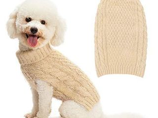SCIROKKO Turtleneck Dog Sweater   Classic Cable Knit Winter Coat   Feather Yarn Glittered with Silver Wire   Keep Warm for Doggies Puppy