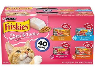 Purina Friskies Wet Cat Food Variety Pack  Surfin    Turfin  Prime Filets Favorites    40  5 5 oz  Cans