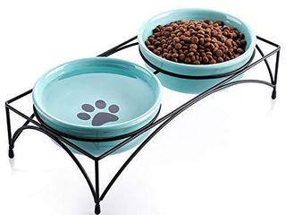 Y YHY Cat Bowls Elevated  Cat Food Water Bowls  Raised Pet Bowls for Indoor Cats or Dogs  Protect Cat s Spine  Ceramic Cat Dishes 12 Ounces   Whisker Fatigue  Paw Print Pattern  Blue