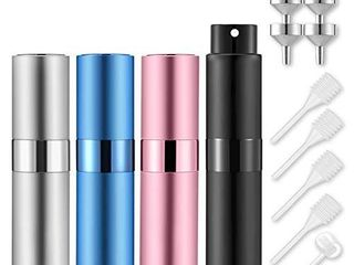 lil Ray 8ml Portable Mini Perfume Atomizer 4 PCS Refilable Empty Small Spray Bottle for Travel  Twist Tpye Pocket Cologne Sprayer  Matte Black  Pink  Blue  Silver
