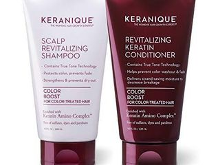 Keranique Keratin Shampoo and Conditioner Set for Colored Thinning Hair  Sulfates Parabens Free  stimulates scalp to nourish rejuvenate hair follicles for healthy Thicker Fuller Hair 4 5 OZ each