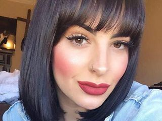Queentas 12inches Human Hair Bob Wigs with Bangs for Black White Women Daily Halloween Short Straight Shoulder length 150  Density Brazilian Virgin Human Hair