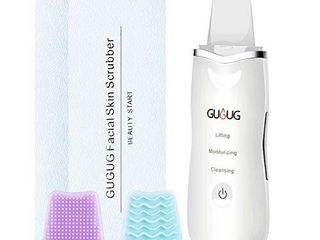 GUGUG Skin Scrubber  Skin Spatula  Blackhead Remover Comedone Extractor Facial Skin Scrubber  Pore Cleanser   IP6X Waterproof USB Charger  Facial lifting Tool  with 2 Silicone Covers