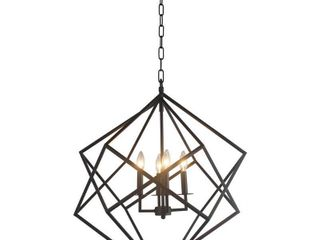 4 light Chandelier in Black finish