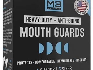 M3 Naturals Mouth Guard for Clenching Teeth at Night   Bite Guard  Dental Guard  Night Guard  Whitening Trays   Night Guards for Teeth Grinding   Mouthguard Grinding Teeth BPA Free 4 Guards 3 Sizes