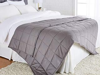 Amazon Basics All Season Cotton Weighted Blanket   15 Pound  60  x 80   Full Queen  Dark Grey