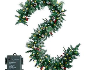 9 Feet Snow Flocked Christmas Garland Including 50 lights  Pine Cones  Red Berries for Best Holiday Season Decorations