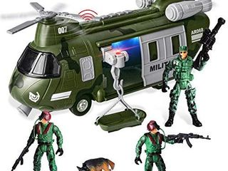 JOYIN Military Vehicles Toy Set of Friction Powered Transport Helicopter with light and Sound Siren  and Soldier Army Men Action Figures for Kids