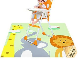 Nesortrii Splat Mat for Under High Chair  Arts  Crafts  Playtime  51  Anti Slip Silicone Splash Mess Mat  Portable Play Mat and Table Cloth The Giraffe