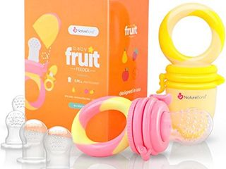 NatureBond Baby Food Feeder Fruit Feeder Pacifier  2 Pack    Infant Teething Toy Teether   Includes Additional Silicone Sacs
