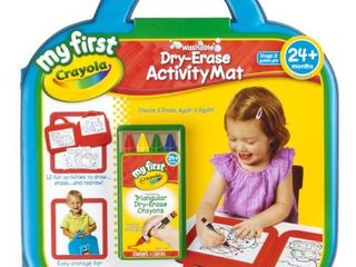 Crayola My First Dry Erase Activity Mat Art Gift for Toddlers   Preschool Kids 2   Up  Washable Triangular Guided Grip Dry Erase Crayons  Portable Folding Mat  Activity Sheets   E Z Erase Cloth