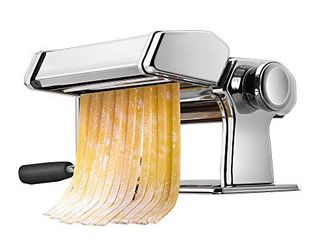 Pasta Machine  iSilER 150 Roller Pasta Maker  9 Adjustable Thickness Settings Noodles Maker with Washable Aluminum Alloy Rollers and Cutter Perfect for Spaghetti  Fettuccini  lasagna or Dumpling Skins