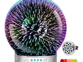 3D Glass Aromatherapy Essential Oil Diffuser Newest Version fragrance oil Humidifier  7 lED Color lighting modes firework theme  Premium Ultrasonic mist  Auto Off Safety Switch  Black