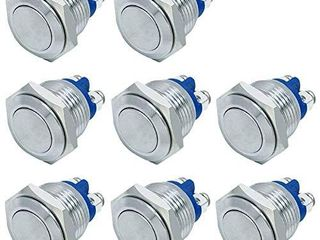 FICBOX 8pcs 16mm 0 63inch Metal Momentary Push Button Switch for Car RV Truck Boat