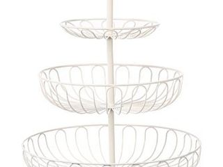 Fruit Basket Bowl   3 Tier Metal Serving Basket Display Storage Stand Holder for Vegetable Produce Snack Bread Cream White  18 25 Inches Tall