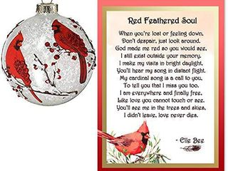 lola Bella Gifts and Burton and Burton Cardinal Round Ornament with Red Feathered Soul Poem and Box Sympathy Grief Memorial Gift