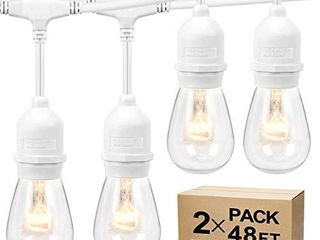 2 Pack Dimmable Outdoor Cafe String lights for Patio  Waterproof Hanging Vintage 11W Edison Bulbs  48Ft Commercial lights String Perfect for Bistro Backyard Pergola  Blk  White Cord   Total 96ft